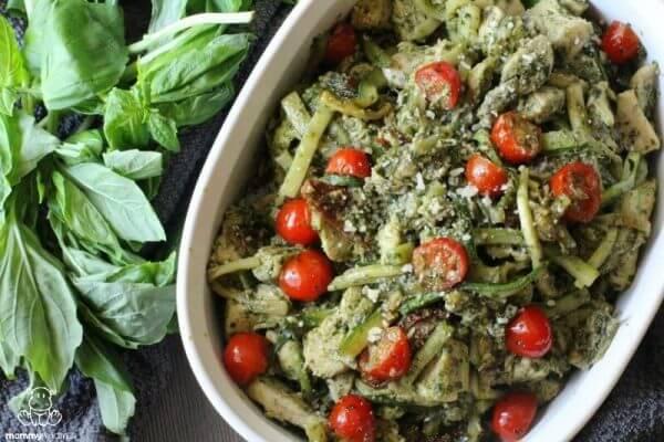 Skillet Pesto Chicken With Zucchini Pasta