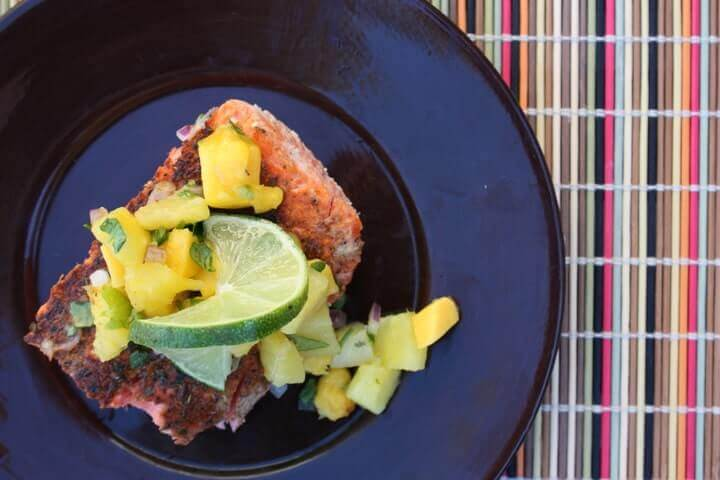 Blackened Salmon With Pineapple Mango Salsa