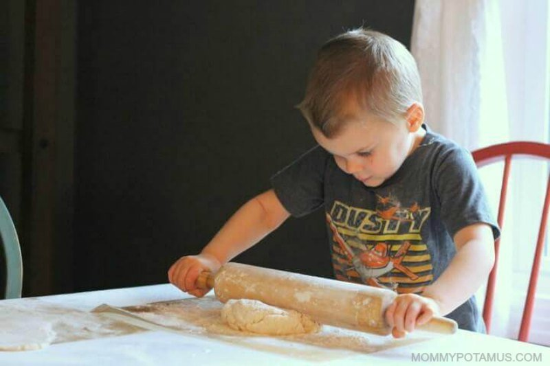 Rolling out salt dough for ornaments
