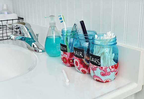 Bathroom Organizer Mason Jars DIY52