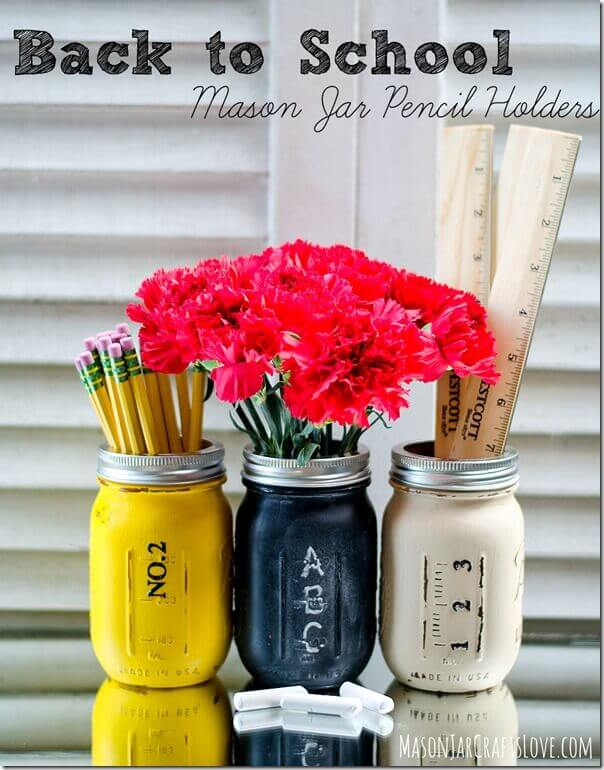 Teacher Gift Pencil Holder Mason Jars Painted Thumb