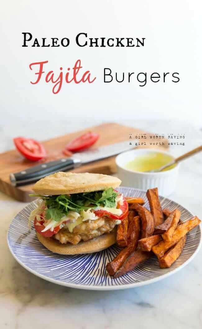 Paleo Chicken Fajita Burgers