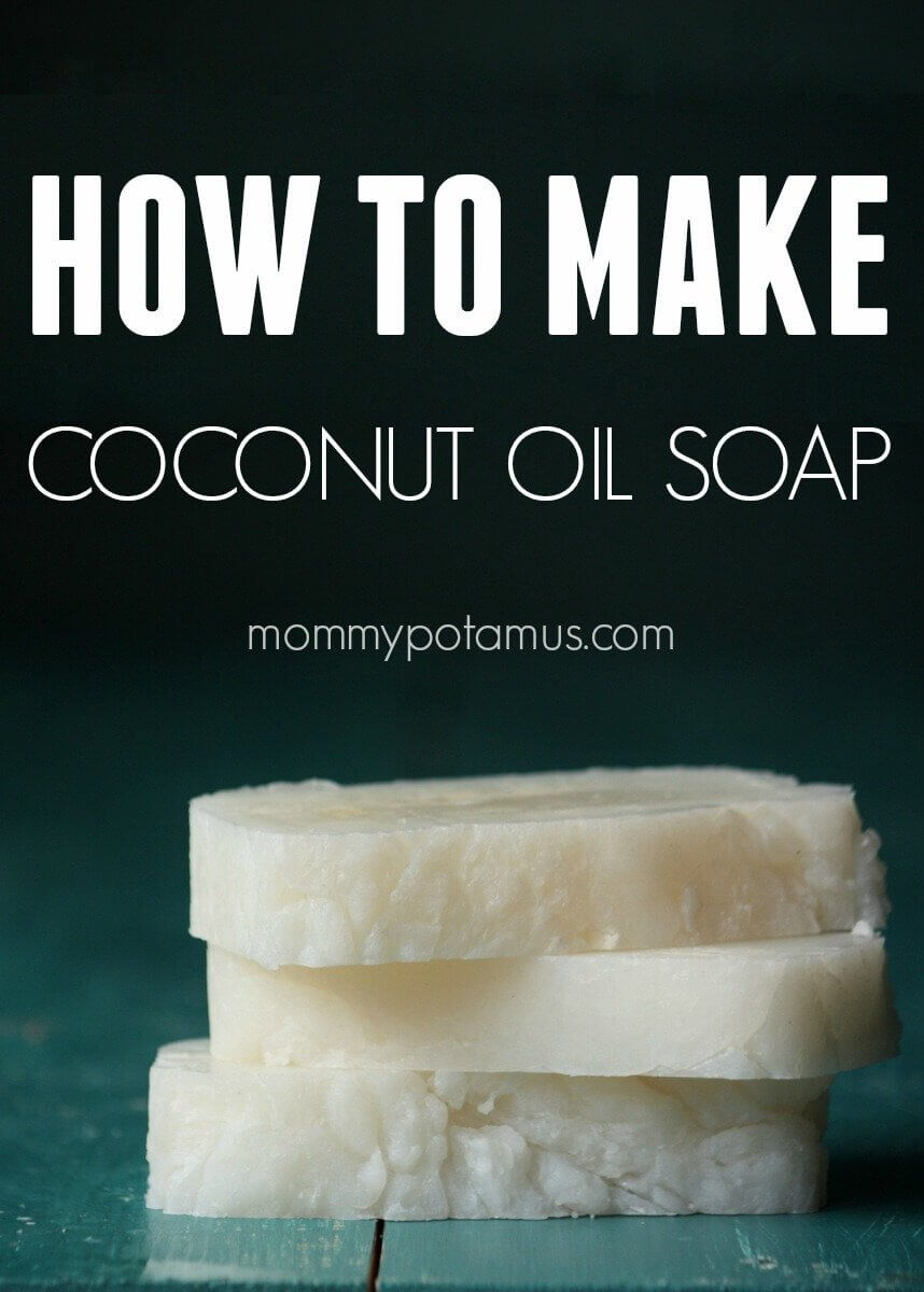 This 3-ingredient pure coconut oil soap is perfect for both cleansing your skin and your laundry! Plus it's probably the easiest soap you'll ever make - Click for the photo tutorial!