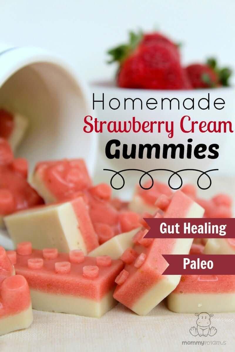 Strawberry Cream Gummies #gelatin #healthysnacks