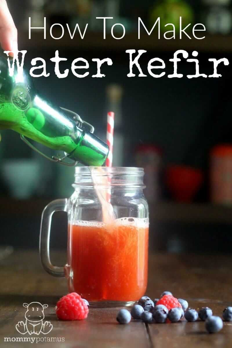 water kefir pouring into a cup