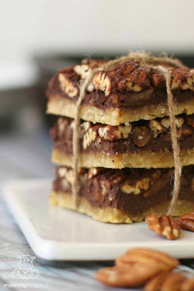 Chocolate Maple Pecan Pie Bars (Paleo, Gluten-Free) - A pastry-like crust with a chocolatey, mapley, pecan pie filling.