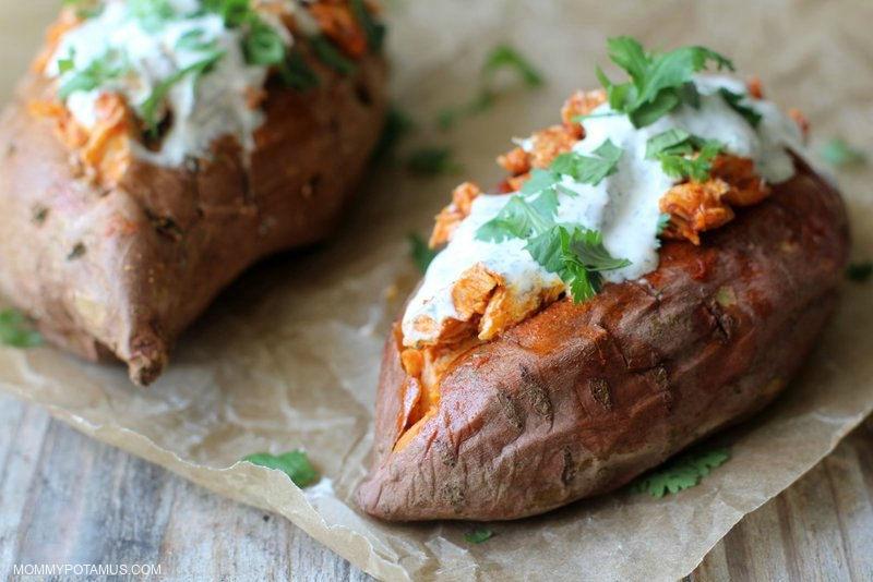 buffalo-chicken-stuffed-sweet-potatoes